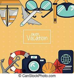 jouir de, fond, coloré, cerceau, vacances, appareil photo, passeport, émission, ancre