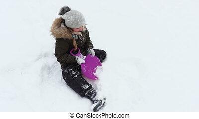 jouir de, neige, petite fille, jour