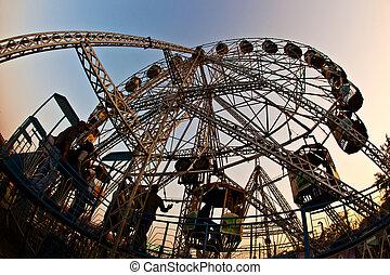 jouir de, roue, gens, grand, delhi, parc, amusement, devant, fort rouge