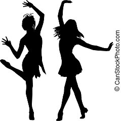 jouir de, silhouette, femmes