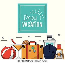 jouir de, sunblock, cocktail, bagage, couleur, affiche, vacances, bateau croisière