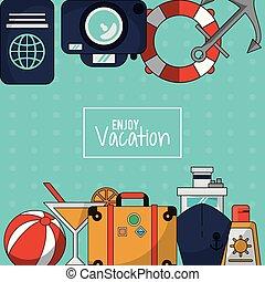 jouir de, sunblock, cocktail, coloré, bagage, vacances, fond, bateau croisière