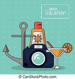 jouir de, sunblock, cocktail, coloré, photo, vacances, appareil photo, affiche, ancre