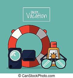 jouir de, sunblock, coloré, affiche, cerceau, vacances, vidéo, émission, enregistreur, lunettes