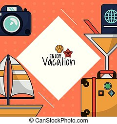 jouir de, voilier, cocktail, coloré, bagage, photo, vacances, appareil photo, passeport, affiche