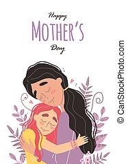 jour, étreindre, girl, salutation, maman, mères, sourire, carte