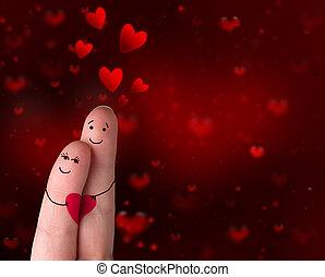 jour, amour, -, valentine, doigts