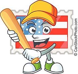 jour, base-ball, jouer, mascotte, sain, timbre, actif, conception, indépendance, style
