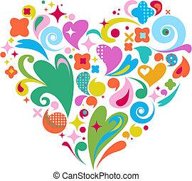 jour, coeur, décoratif, vecteur, valentines