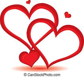 jour, coeur, valentin, vecteur, arrière-plan., rouges, illustration.