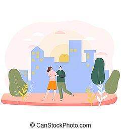 jour, couple, gens, heureux, illustration, amour, valentin, romantique, vecteur, ville