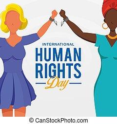 jour, droits, élévation, course, international, mains, chaînes, peuples, symbole, différent, arrière-plan., cassé, freedom., humain