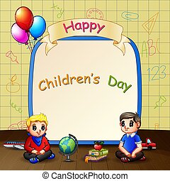jour, gosses, heureux, enfants, séance