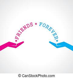 jour, heureux, carte, amitié, salutation