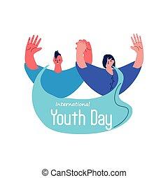 jour, jeunesse, international, gens, célébrer