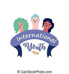 jour, jeunesse, international, groupe, gens, célébrer