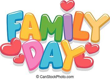 jour, lettres, famille, 3d