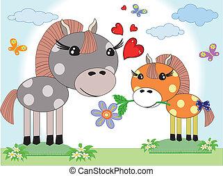 jour, mères, chevaux
