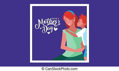 jour, mères, heureux, lettrage
