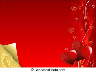 jour, or, fond, valentin, rouges