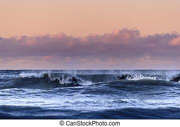 jour, orageux, vagues