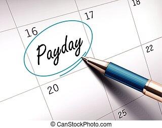 jour paie, mot, marqué