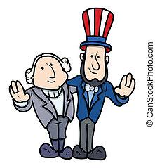 jour présidents, caractères, dessin animé