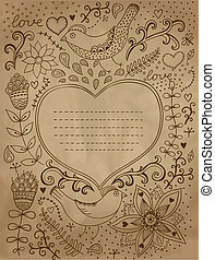 jour, retro, endroit, couverture, arrière-plan., cartes, vous, ainsi, middle., on., forme, coeur, boîte, conception, valentine, vendange, ton, text., fond, floral, cahier, ornement