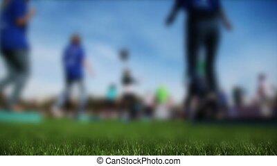 jour, stade, ensoleillé, masse, fitness, automne