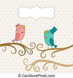 jour, ton, carte, text., illustration, endroit, séance, oiseaux, love., deux, romantique, valentine, dessin animé, arbre., beau, branche
