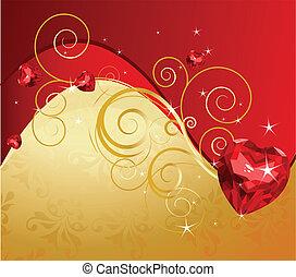 jour valentine, fond, doré