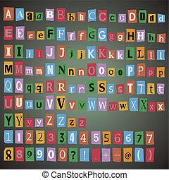 journal, alphabet, symbols., lettres, nombres