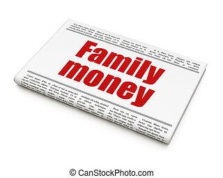 journal, argent, concept:, famille, titre
