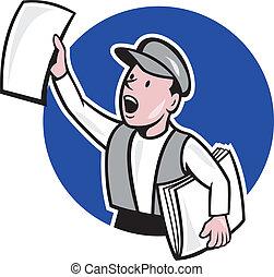 journal, cercle, vente, dessin animé, vendeur journaux