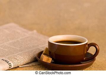 journal, grande tasse café