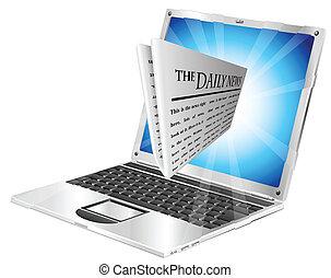 journal, ordinateur portable, concept
