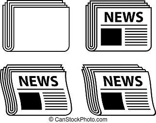 journal, symboles, ondulé, noir, vecteur
