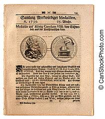 journal, vieux, 1739, allemand, daté