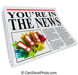 journal, vous êtes, attention, exposition, nouvelles