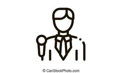 journaliste, homme, animation, icône