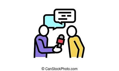 journaliste, icône, animation, couleur, entrevue
