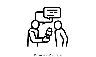 journaliste, icône, animation, ligne, entrevue