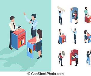 journalistes, président, choix, interlocuteurs, parlement, vecteur, voting., politique, ou, personnes, isométrique, gens, campagne, vote