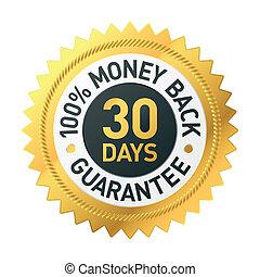 jours, argent, 30, dos, étiquette, garantie