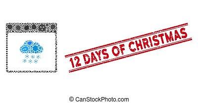 jours, icône, gratté, neige, collage, nuage, grippe, page, lignes, cachet, 12, calendrier, noël