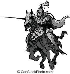jouter, mascotte, chevalier, cheval