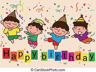 joyeux anniversaire, dessin animé, célébration