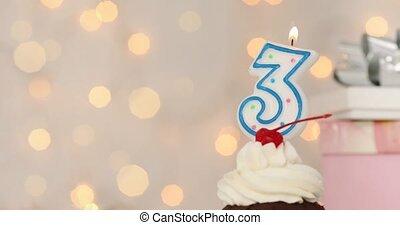 joyeux anniversaire, gâteau tasse, 3, bougie