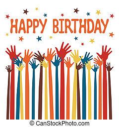joyeux anniversaire, mains, design.