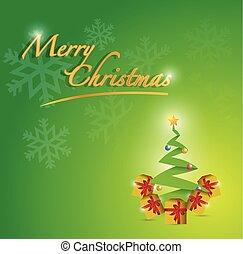 joyeux, arbre, illustration, carte, noël